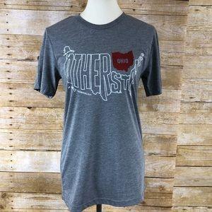 Fun Ohio Tee Shirt Gray and White ShortSleeve Sz S